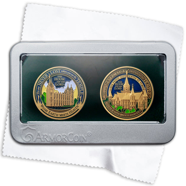 Salt Lake Temple and Provo City Temple two Medallion gift set