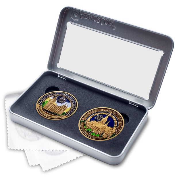 Salt Lake and Provo City Temples double medallion gift set