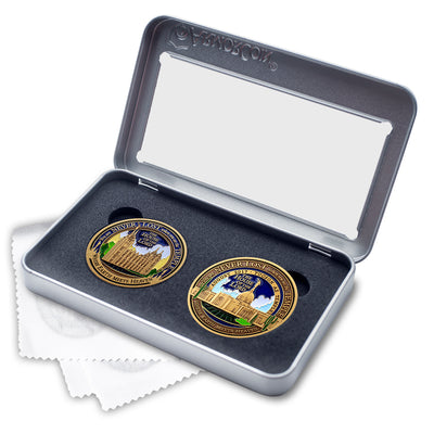 Salt Lake City and Tucson Arizona Temples double medallion gift set
