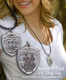 Women wearing dog tag featuring Armor of God warriors