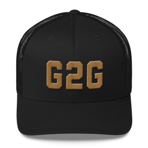 G2G Retro Trucker Cap - Old Gold Embroidery