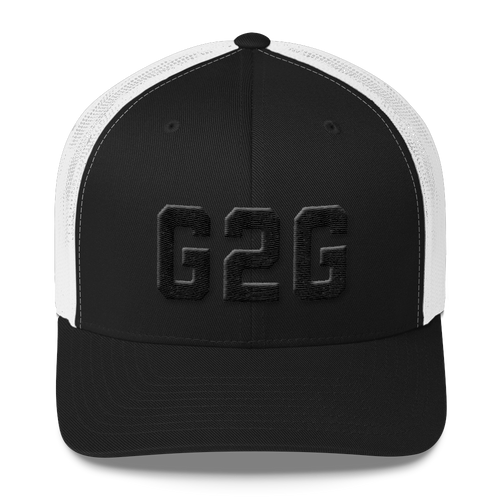 G2G Retro Trucker Cap - Black on Black Embroidery