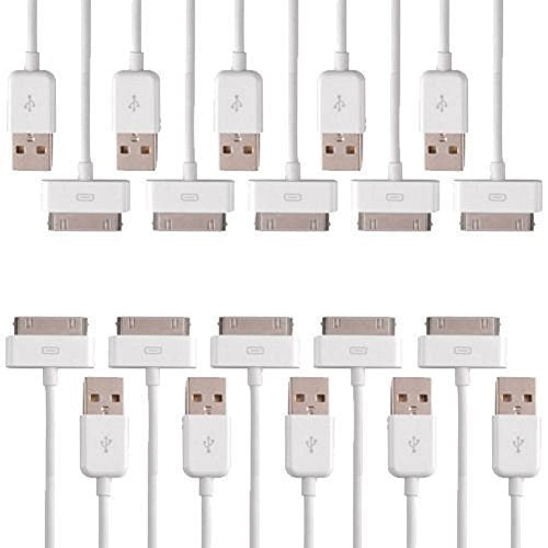 White Basic USB Charger Sync Cable - 10 pack