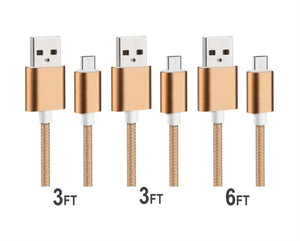 Gold Nylon Braided Micro USB Charging Sync Cable - 3 pack