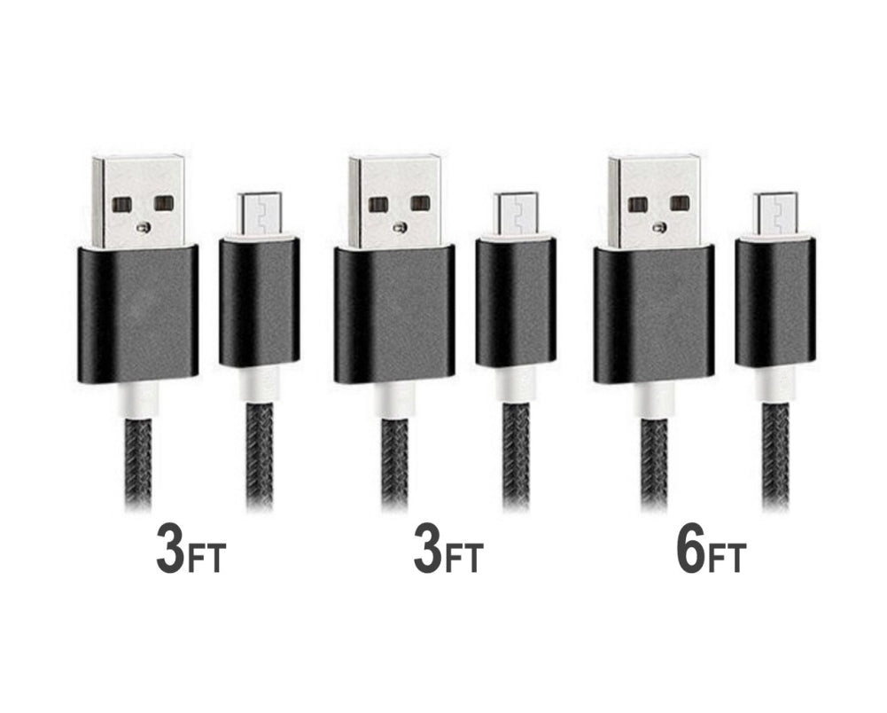Black Nylon Braided Micro USB Charging Sync Cable - 3 pack