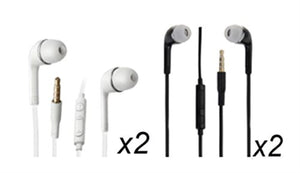 S3 In-Ear Earphones in-Line Mic and Volume Control compatible with Samsung Galaxy S4 S5 S6 S7 and Android -4 Pack (2 Black and 2 White)