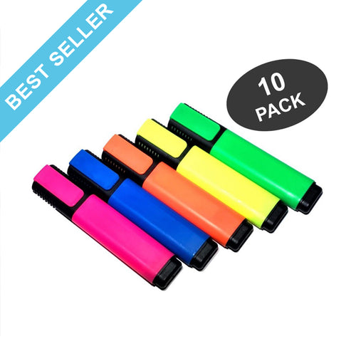 Star Highlighters, Fluorescent Mix Colors Markers with Chisel Tip- 10 Pack