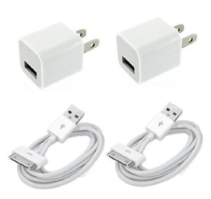 4in1 Charger Set 2 USB Charging Sync Cables & 2 Wall Plugs - 2 Pack