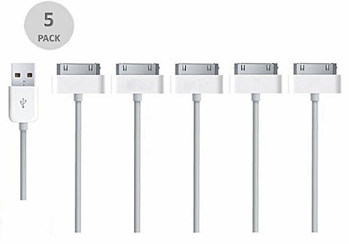White Basic USB Charger Sync Cable - 5 pack