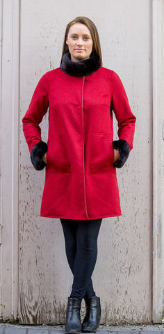 Bergen Of Norway Kari Coat Red Cashmere Mink Coat - Bergen Of Norway
