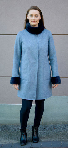 Bergen Of Norway Kari Coat Navy Grey Cashmere Mink Coat - Bergen Of Norway