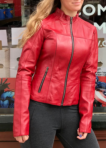 Bergen of Norway Red Leather Lamb Jacket