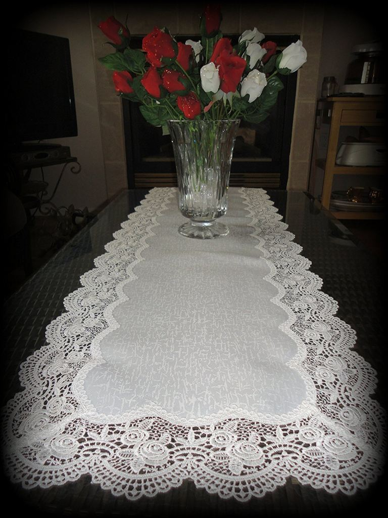 Dresser Scarf Royal Rose European Lace White Table Runner 54 Doily Home ...