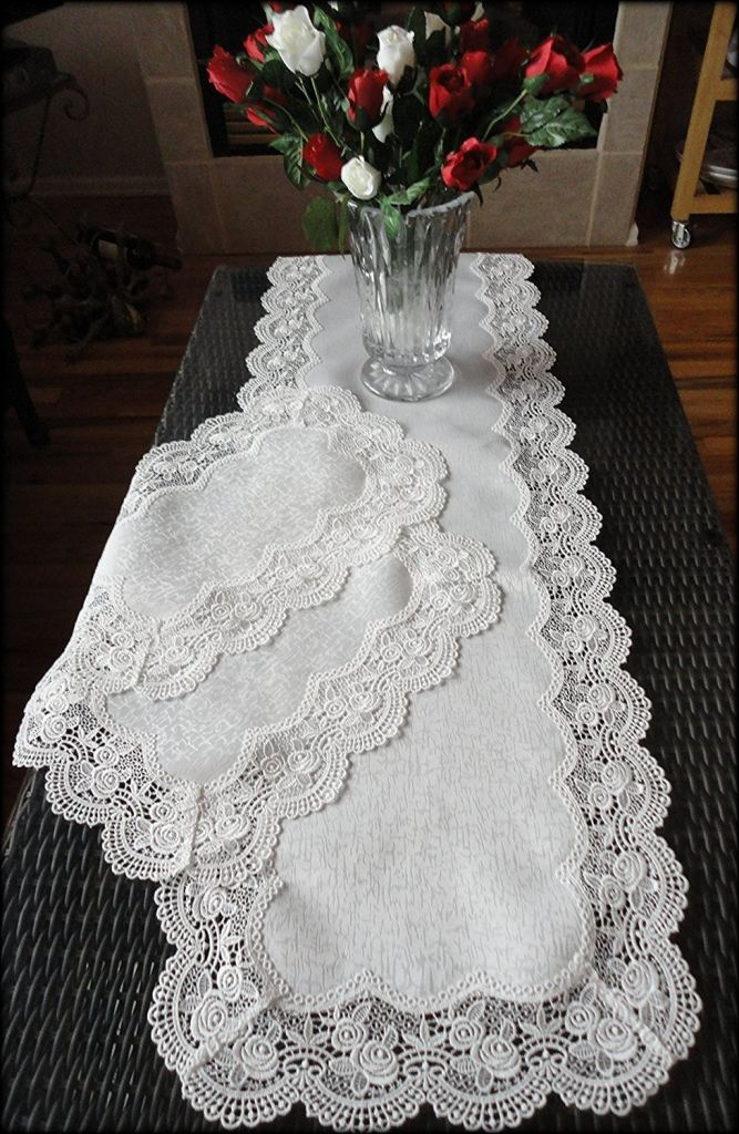 Dresser Scarf Royal Rose European Lace White Table Runner 54 Inch Plus Two  Place Mats Or ...