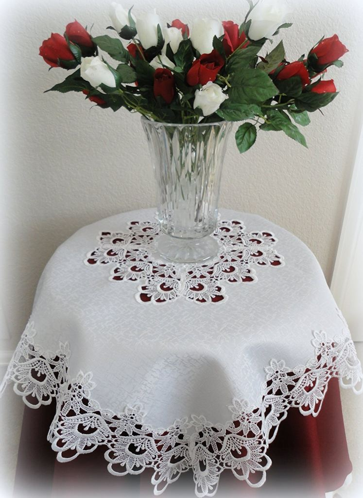 Lace Tablecloth Table Topper White Flower 34 Square Home ...