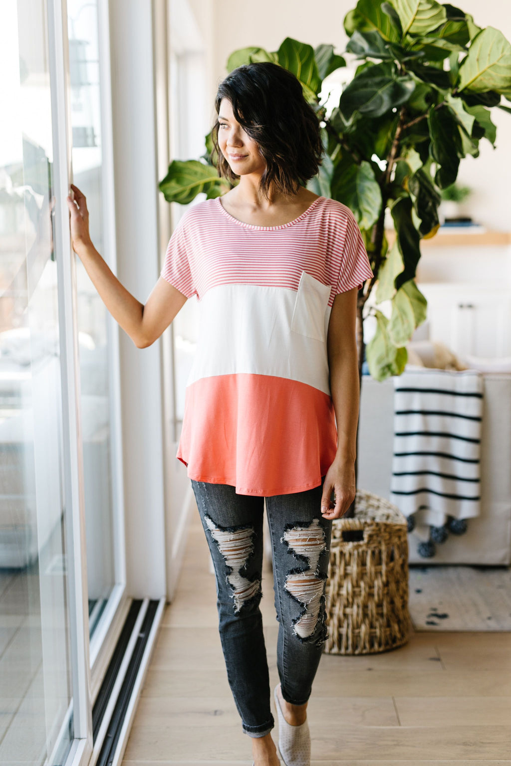 Block Party Top In Coral