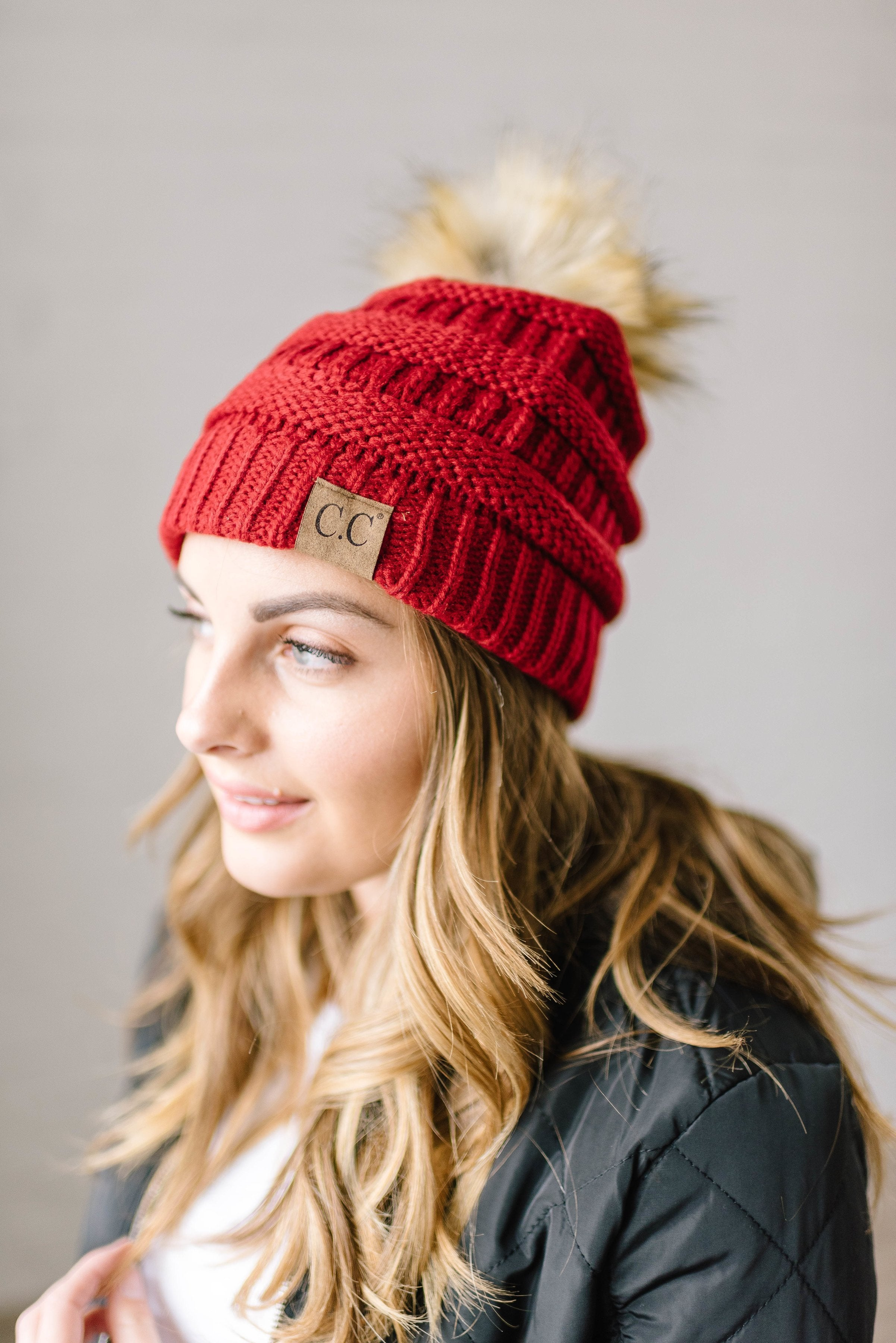 CC Fur PomPom Beanie in Red
