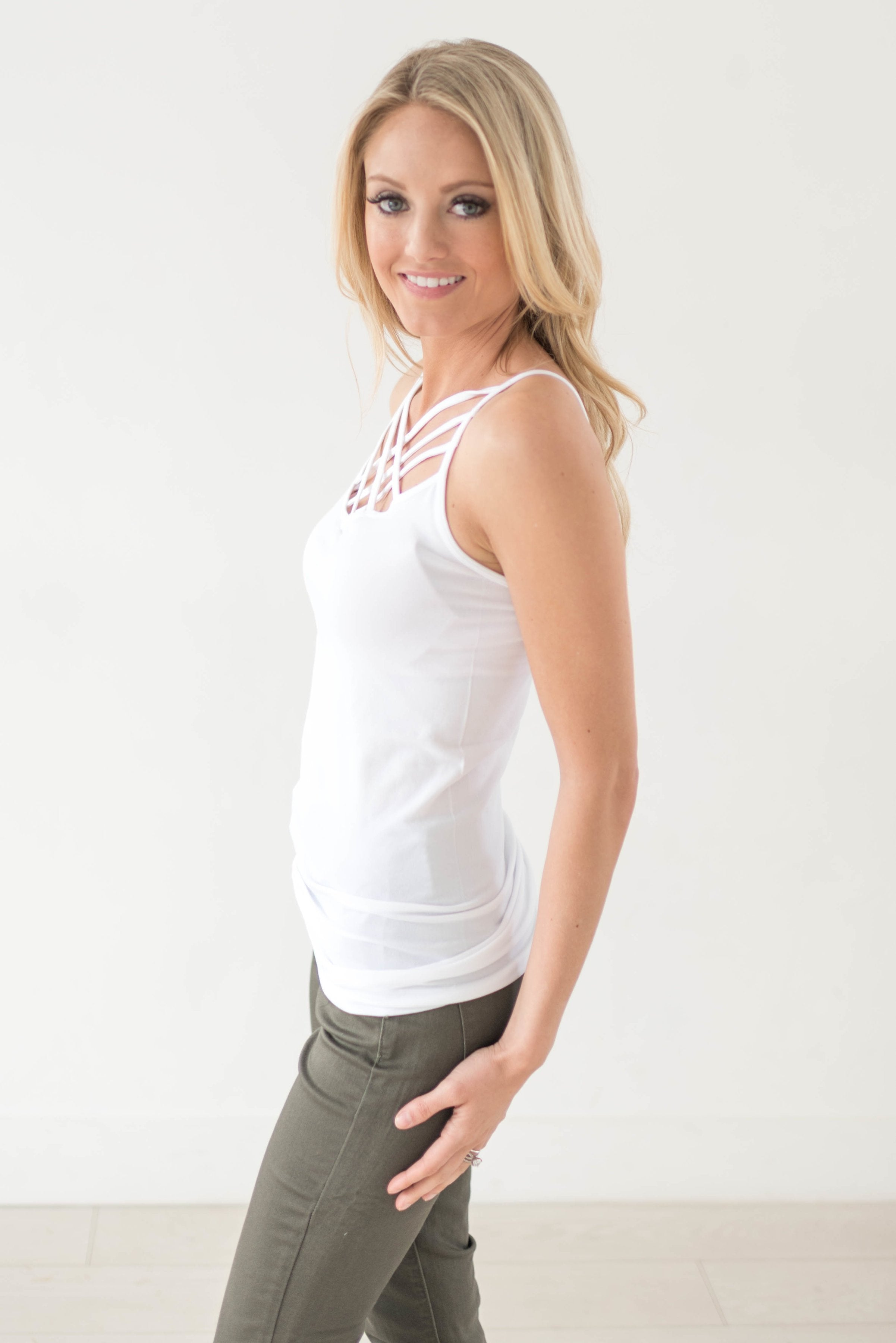 Criss Cross Cami In White