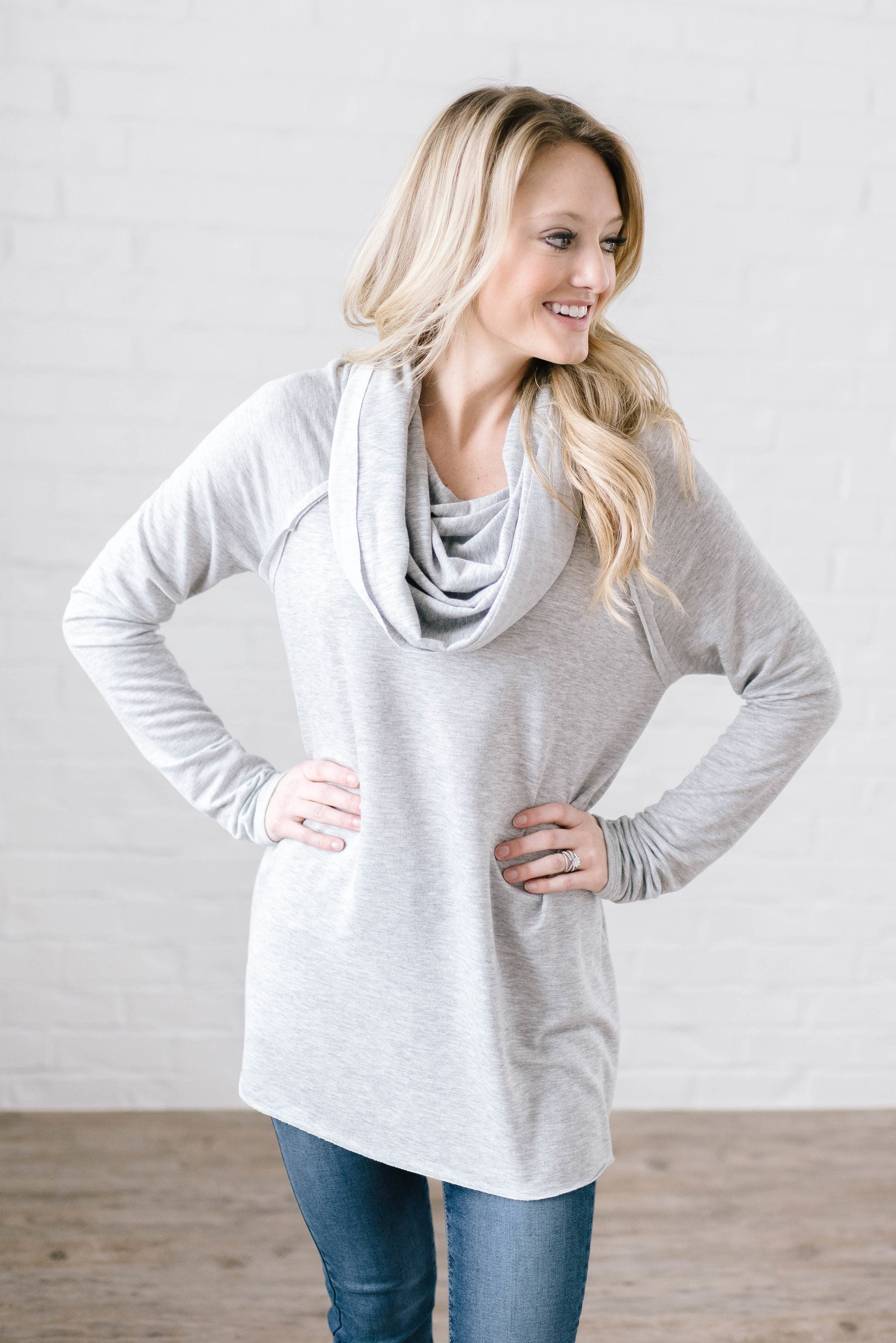 Rainy Day Cowl Neck Tunic in Gray