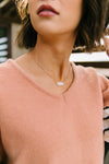 Silver & Gold Druzy Necklace + Stud Earring Set