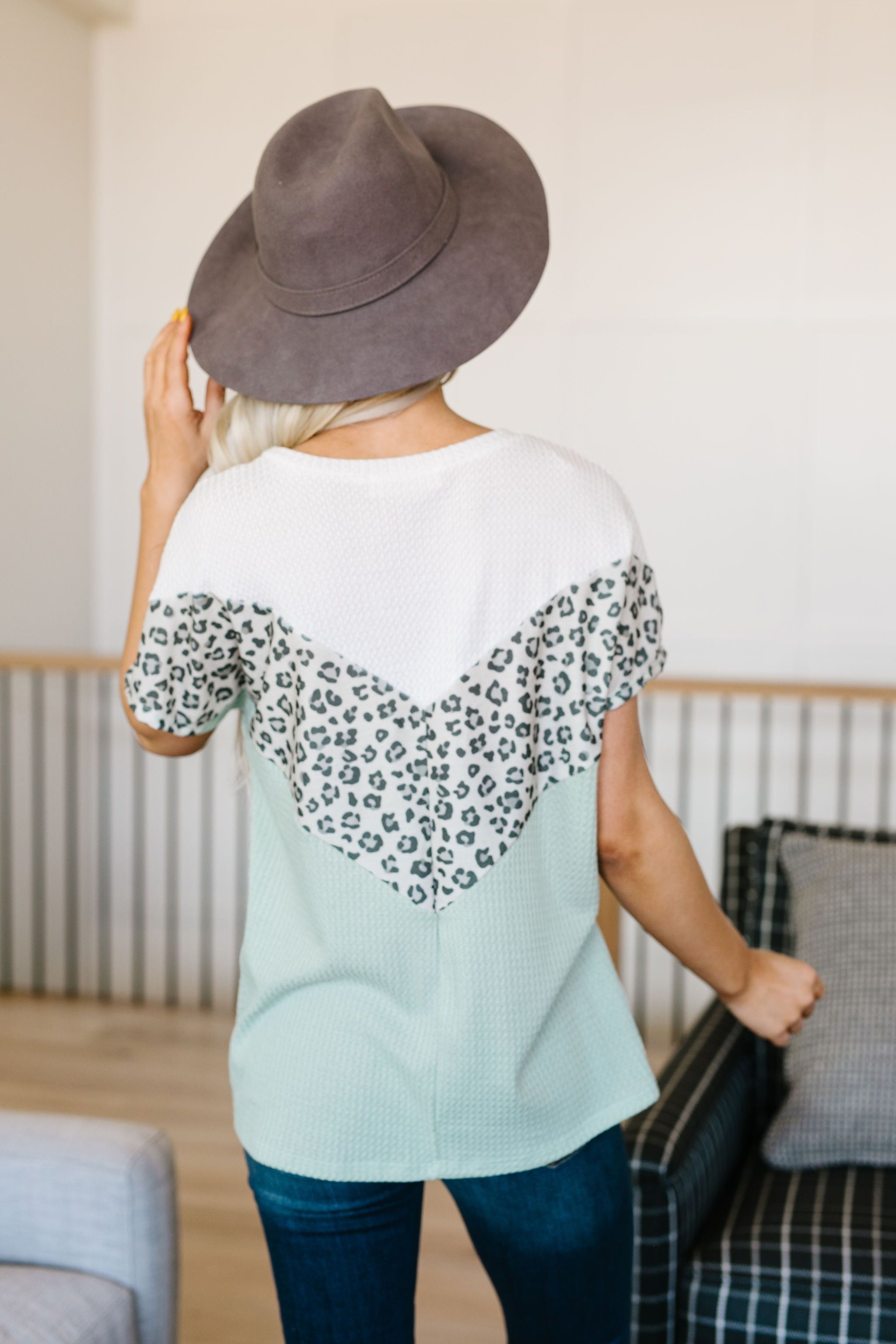 Spotted V Waffle Knit Top