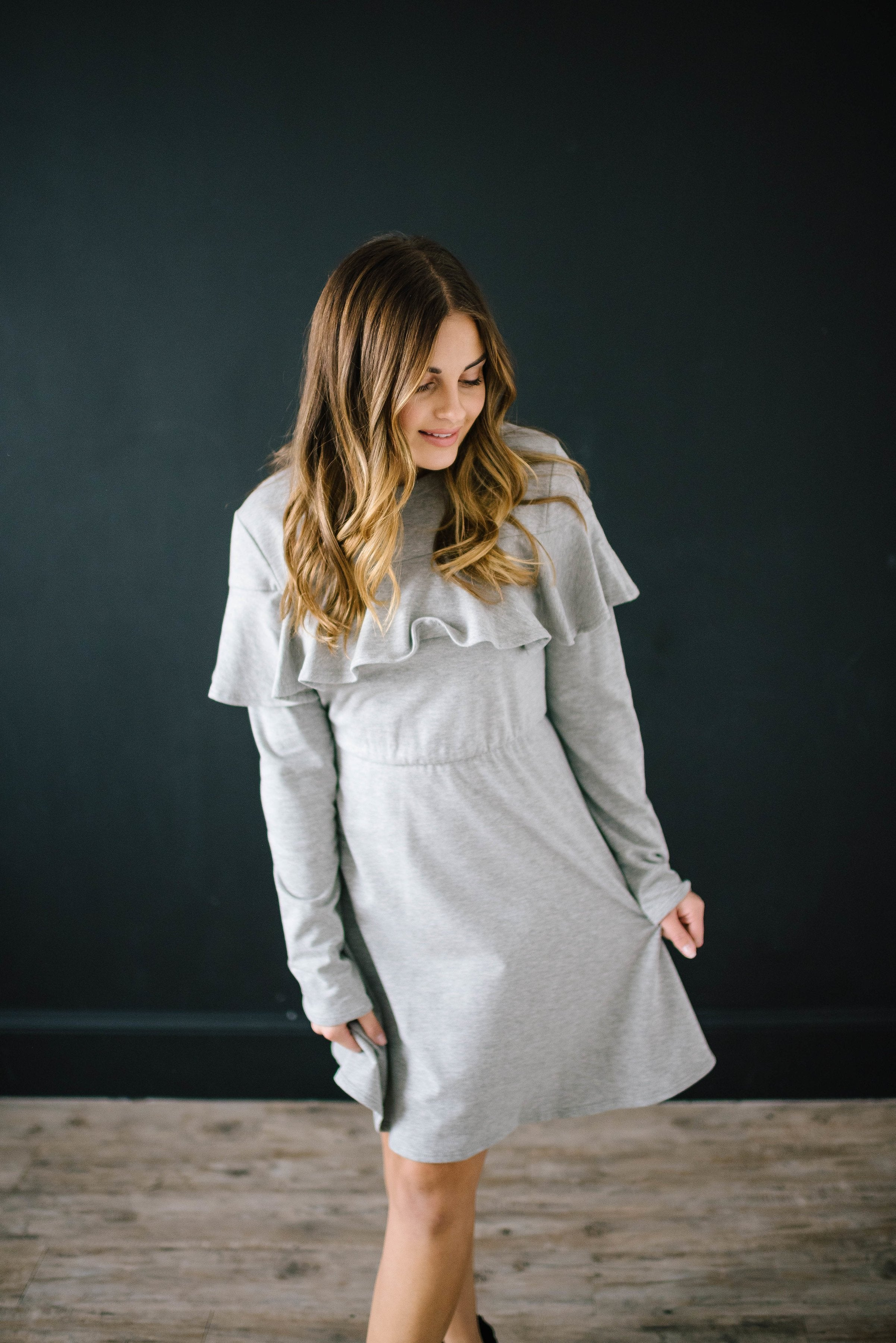 The Liz Knit Dress in Gray