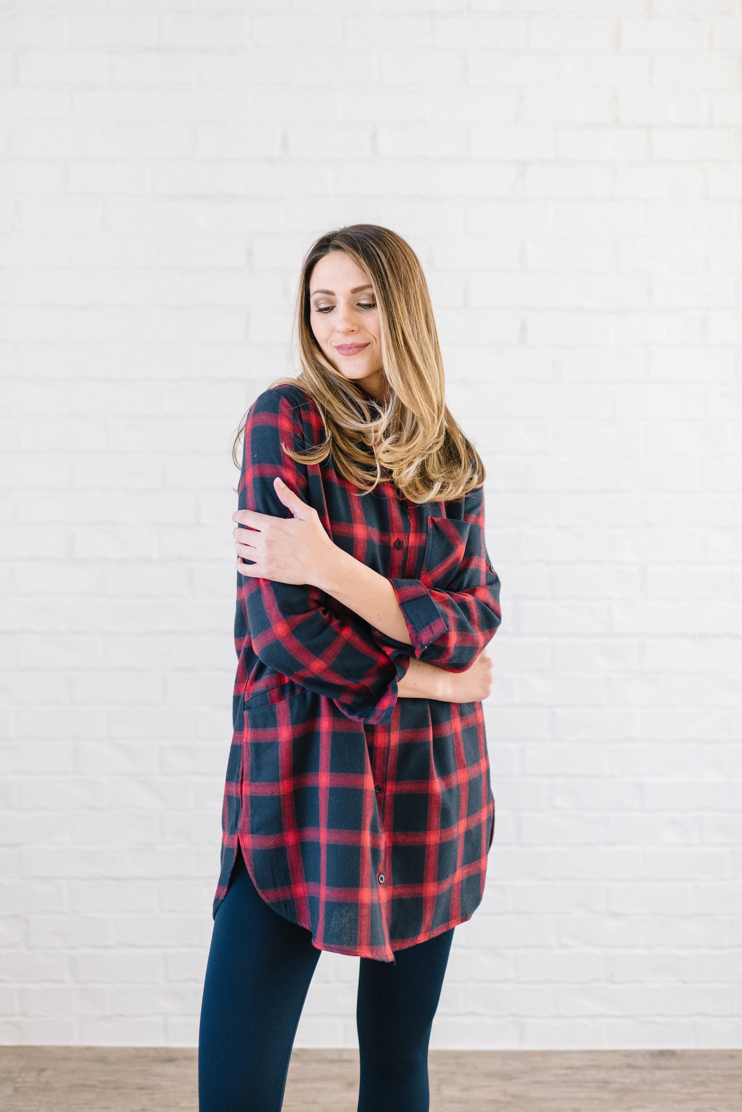 The Tristan Flannel Tunic in Red & Navy