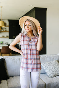 Pink Plaid Sleeveless Top