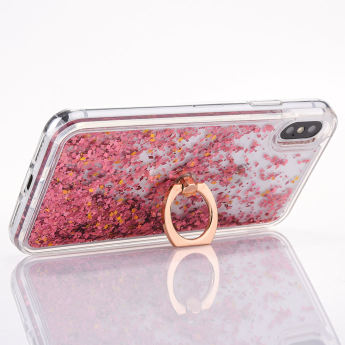Glittery Stars Quicksand Case w/ Ring Stand for iPhone