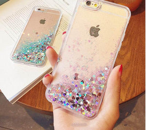 LOVECOM Love Heart Stars Glitter Stars Phone Case For iPhone 5 5S SE 6 6S 7 Plus Dynamic Liquid Quicksand Soft TPU Back Cover - Your Beauty Outlet