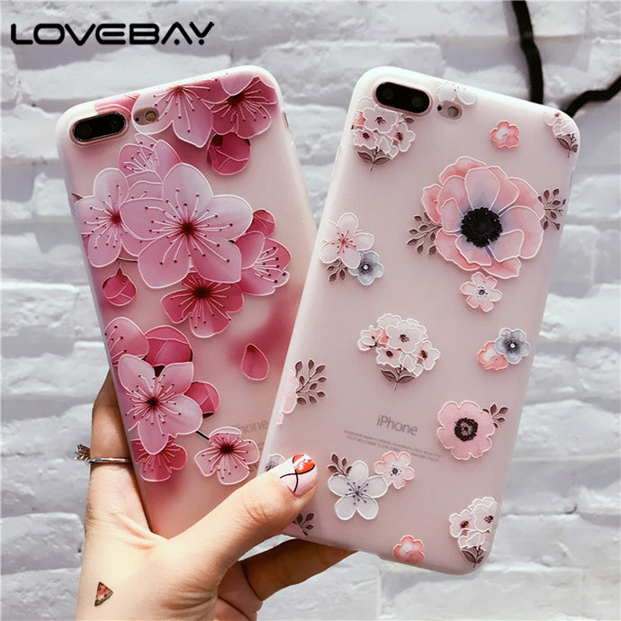 Lovebay Phone Case For iPhone 8 7 6 6s Plus Fashion Retro 3D Flower Patterned Soft Silicone TPU Back Cover Cases For iPhone 8 - Your Beauty Outlet