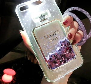 Luxury Quicksand Perfume Bottle LED Light Up iPhone Case