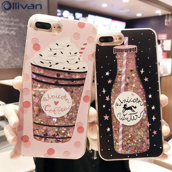 Ollivan girls bottle quicksand case for iphone 7 case silicone TPU PC Dynamic liquid glitter cover for iphone 6 6s 7 plus fundas - Your Beauty Outlet