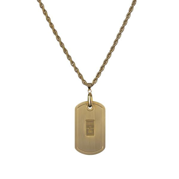 Dog tag gold tone with Credit Suisse 1.0 gm ingot - NBI Enterprise