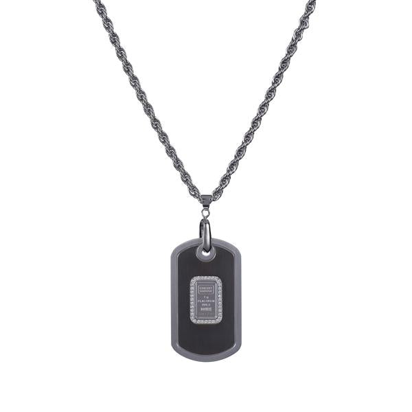 Dog tag stainless steel/black with Credit Suisse 1.0 gm platinum ingot - NBI Enterprise