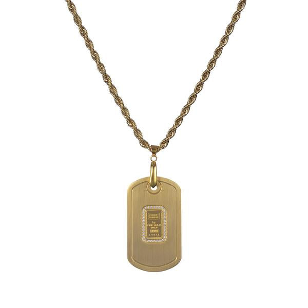 Dog tag gold tone with Credit Suisse 1.0 gm gold ingot - NBI Enterprise