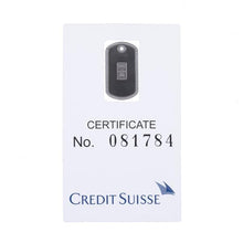 Dog tag black with Credit Suisse 1.0 gm platinum ingot - NBI Enterprise
