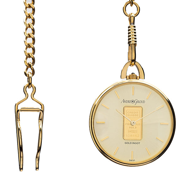 Andre Giroud gold tone pocket watch with 1.0 gram Credit Suisse ingot - NBI Enterprise