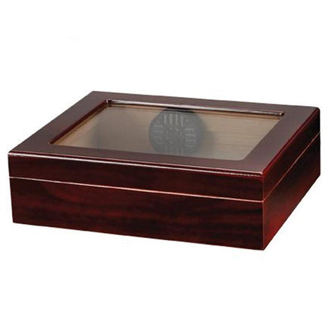 Image of Navarro 20 Cigar Glass Top Travel Humidor | Cherry - Shades of Havana