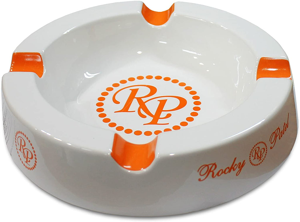 Rocky Patel Orange White Round 4-Finger Ashtray