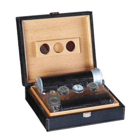 The Alligator Black Leather Humidor 25 Cigar Count | Gift Set