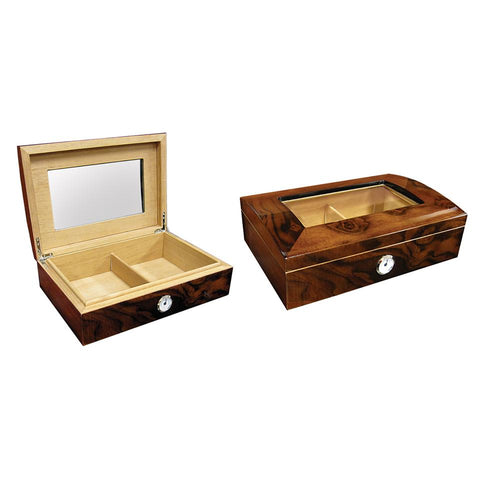 Addison - Walnut Burl Gloss Finish Humidor - 40 Cigars - Arc Top - Prestige Import Group