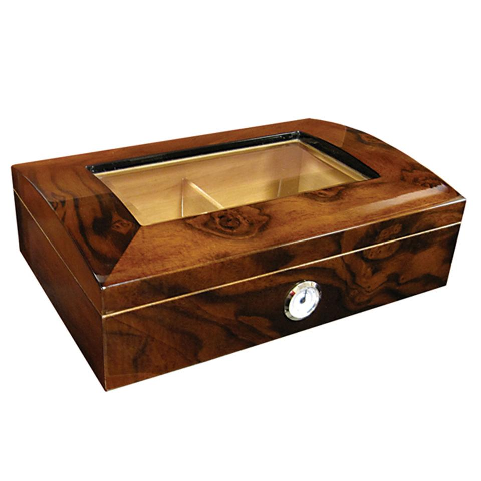 Addison Glass Top Humidor 40 Cigar Count - Shades of Havana