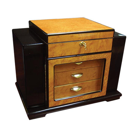 Baccus - High Gloss Lacquer Humidor - 200 Cigars - Side Storage - Prestige Imports - Shades of Havana