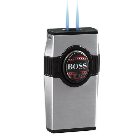 BOSS - Twin Pinpoint Torch Flame Lighter - Punch Included - Silver - Shades of Havana