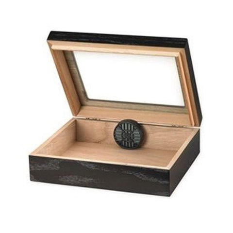 Navarro 20 Cigar Count Glass Top Travel Humidor | Black