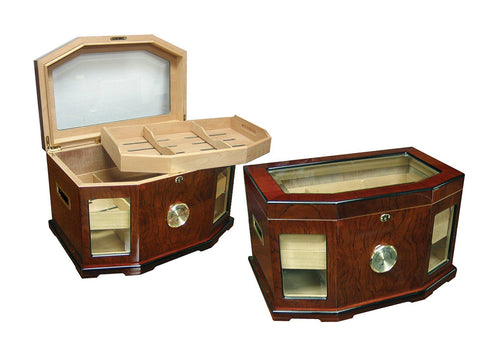 CHANCELLOR - High Gloss Lacquer Humidor - Holds 300 Cigars - With Beveled Glass - Shades of Havana