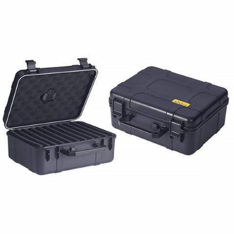 Image of Cigar Caddy Black Plastic Travel Humidor - 40 Cigar Water Resistant Case - Shades of Havana