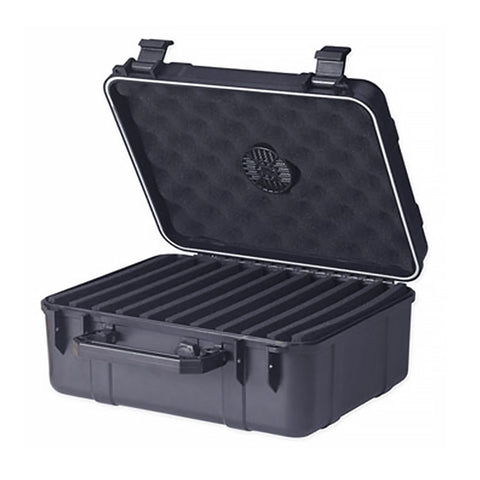 Cigar Caddy Black Plastic Travel Humidor - 40 Cigar Water Resistant Case