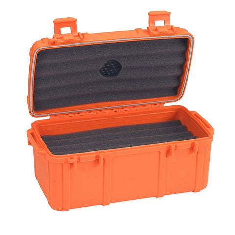 Cigar Caddy Orange Travel Humidor - 15 Cigar Rubber Coated Plastic Water Resistant